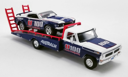 1/64 FORD F350 RAMP TRUCK WITH 1969 TRANS AM MUSTANG MOFFAT