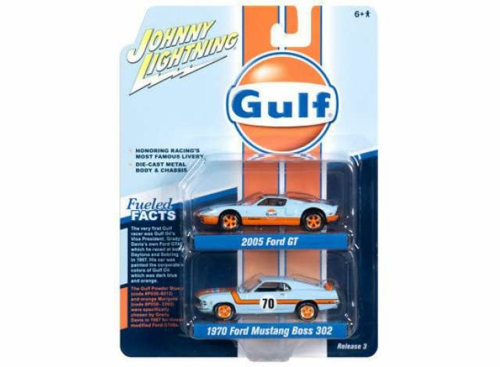 1/64 GULF 2005 FORD GT AND 1970 FORD MUSTANG BOSS 302