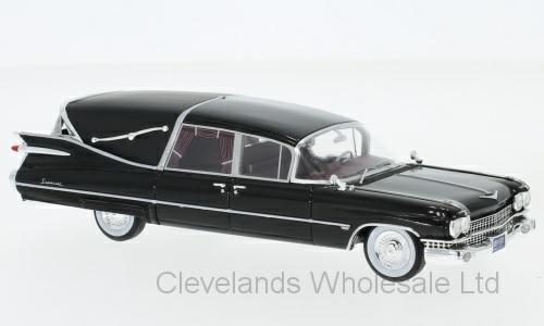 1/43 CADILLAC SUPERIOR CROWN ROYALE LANDAU HEARSE BLACK 1959