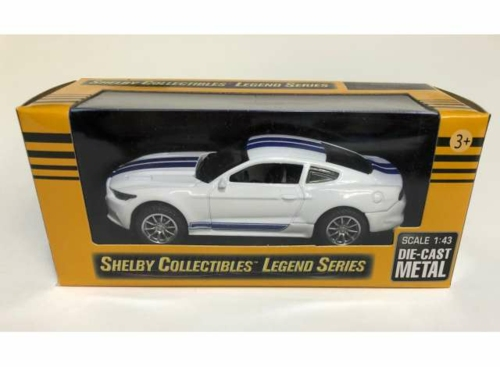 1/43 2016 SHELBY MUSTANG GT350 WHITE AND BLUE STRIPS