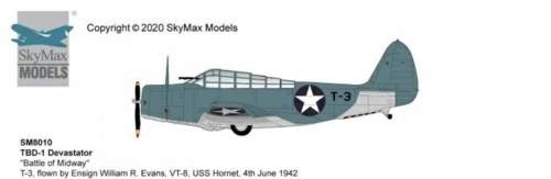 1/72 TBD-1 DEVASTATOR BATTLE OF MIDWAY T-3, FLOWN BY ENSIGN