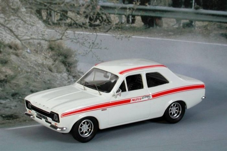 1/43 FORD ESCORT MK1 MEXICO (1971) WHITE W/ RED STRIPES (LHD)