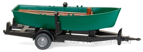 1/87 TRAILER WITH ROWING BOAT GREEN